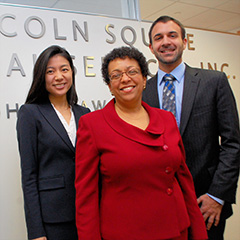 Fordham Law School's Immigration Rights Clinic students Jessica Jang and Joshua Brandman with Professor Gemma Solimene