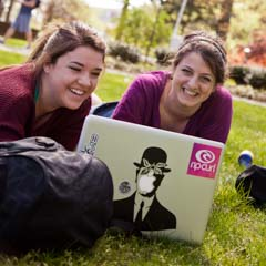 Two Females Students with Laptop